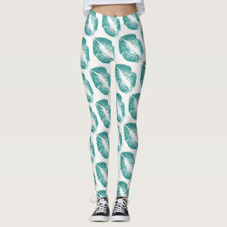 Turquoise Glitter Lips Modern White Leggings