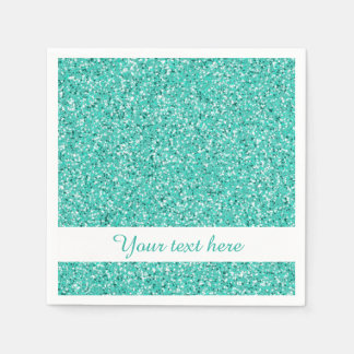 Turquoise Glitter Look-like With Custom Text Disposable Napkins