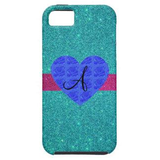 Turquoise glitter monogram blue roses iPhone 5 cases