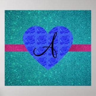 Turquoise glitter monogram blue roses posters