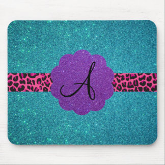 Turquoise glitter monogram mouse pad