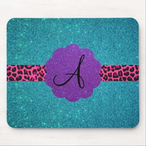 Turquoise glitter monogram mouse pad