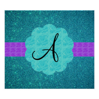 Turquoise glitter monogram print