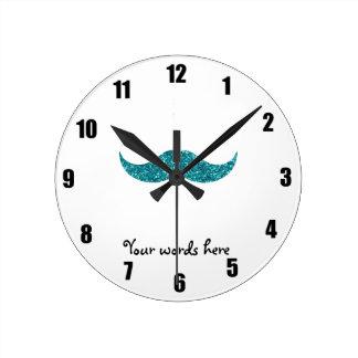 Turquoise glitter mustache round clock
