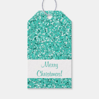 Turquoise Glitter Pattern Look-like Gift Tags