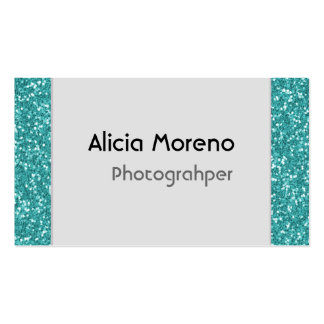 Turquoise Glitter Personalized Business Cards