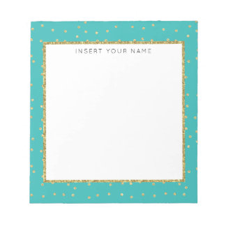 """Turquoise & Glitter Personalized Notepad 5.5"""" x 6"""""""