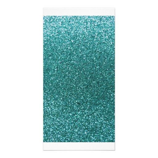 Turquoise glitter photo card