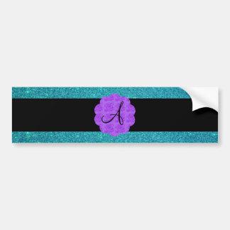 Turquoise glitter purple roses monogram bumper stickers