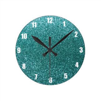 Turquoise glitter round clock