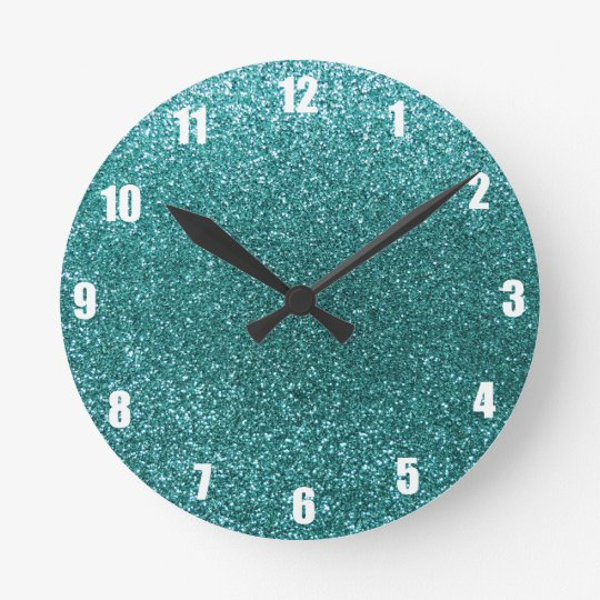 Turquoise Glitter Round Clock Zazzle Co Uk