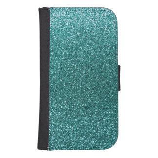 Turquoise glitter samsung s4 wallet case