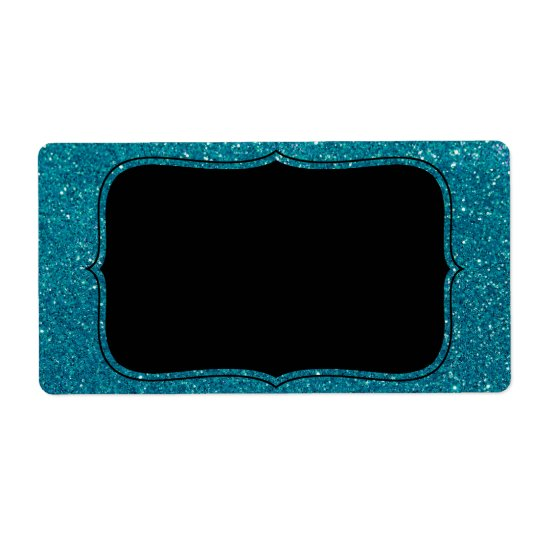 Turquoise Glitter Shipping Label