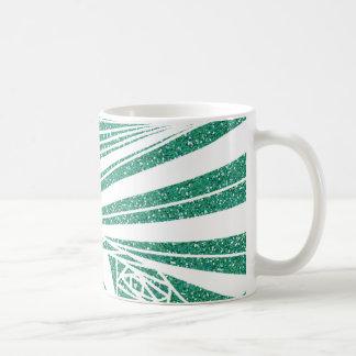 Turquoise Glitter Spiral Pattern on Mug