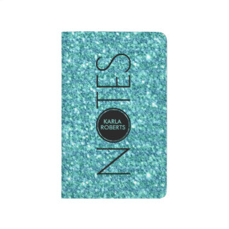 Turquoise-Glitter & Text Journal