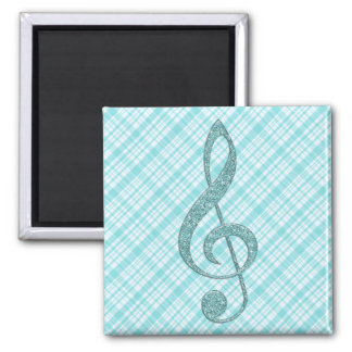 Turquoise Glitter Treble Clef on Turquoise Plaid Square Magnet