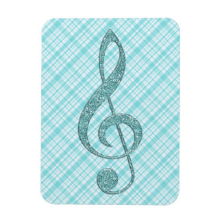 Turquoise Glitter Treble Clef on Turquoise Plaid Rectangle Magnet