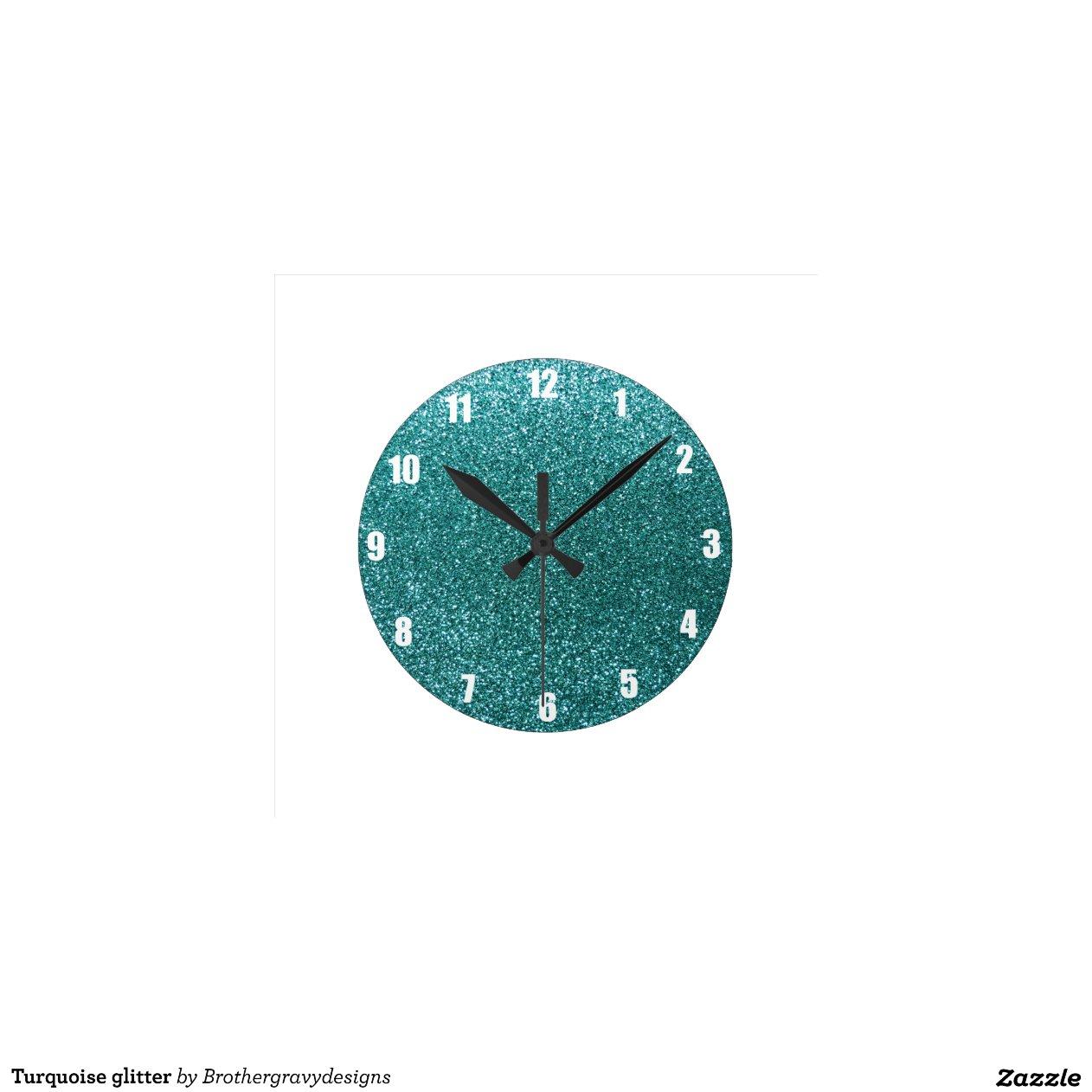 Turquoise Glitter Wall Clocks Zazzle