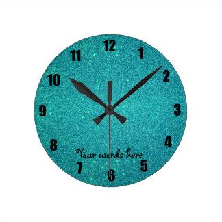 Turquoise glitter wall clocks