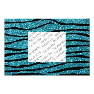 Turquoise glitter zebra stripes photograph