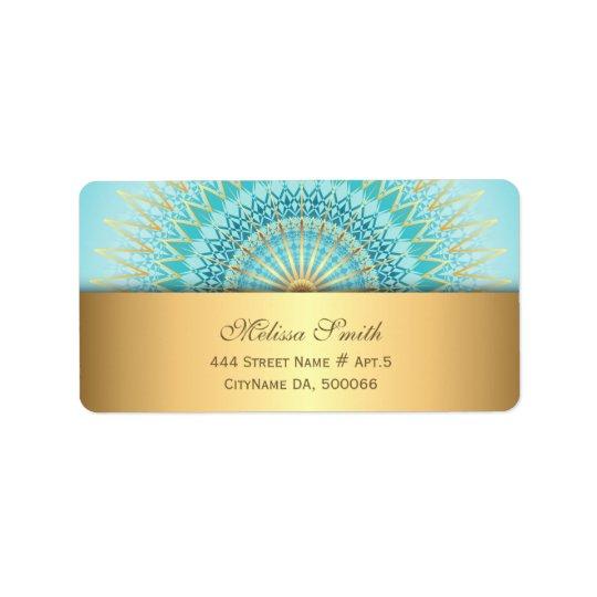 Turquoise Gold Boho Mandala Address Label