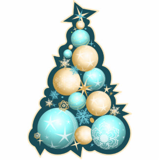 Turquoise & Gold Bubbles Christmas Tree Photo Sculpture Decoration