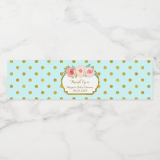 Turquoise Gold Dots Baby Shower Water Bottle Label