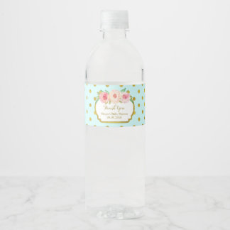 Turquoise Gold Dots Floral Water Bottle Label