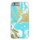 Turquoise gold faux glitter modern marble pattern barely there iPhone 6 case