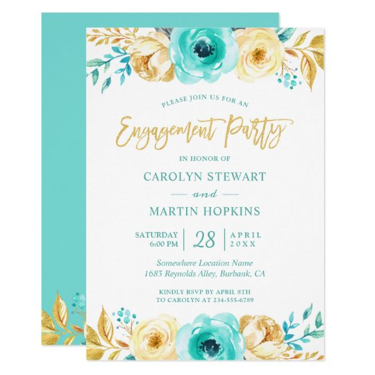 Turquoise Gold Floral Romance Engagement Party Card