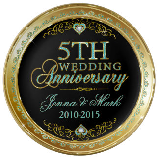 Turquoise & Gold Frame & 5th Wedding Anniversary Porcelain Plates