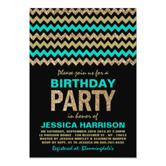Turquoise & Gold Glitter Chevron Birthday Party 13 Cm X 18 Cm Invitation Card