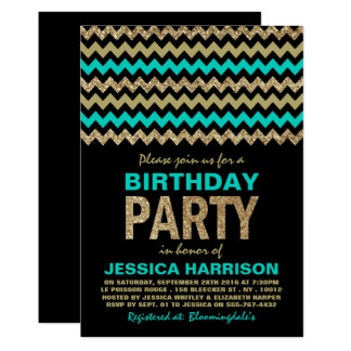 Turquoise & Gold Glitter Chevron Birthday Party Card