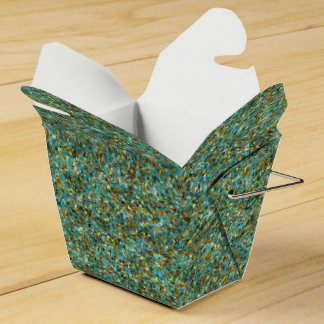 Turquoise Gold Glitter-PARTY FAVOR BOXES,take out Party Favour Boxes