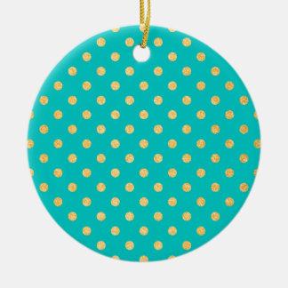 Turquoise Gold Glitter Polka Dots Pattern Christmas Ornament