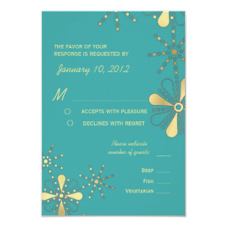Turquoise & Gold Indian Inspired RSVP Meal Options 9 Cm X 13 Cm Invitation Card