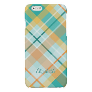turquoise gold teal peach colorful summer plaid iPhone 6 plus case
