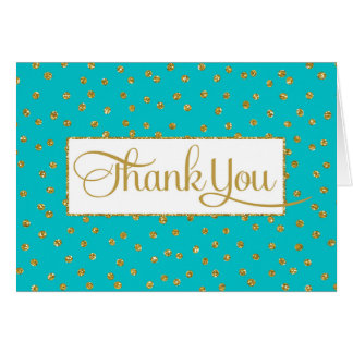 Turquoise Gold Thank You Card