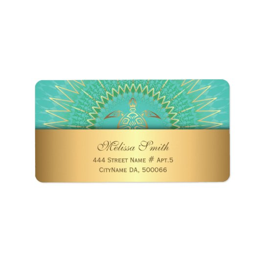 Turquoise Gold Turtle Animal Tribal Label