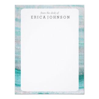Turquoise Granite Stone Layered Wave Print 11 Cm X 14 Cm Invitation Card