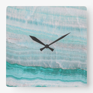 Turquoise Granite Stone Layered Wave Print Square Wall Clock