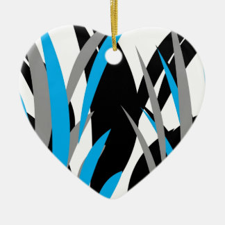 Turquoise Grass Design Double-Sided Heart Ceramic Christmas Ornament