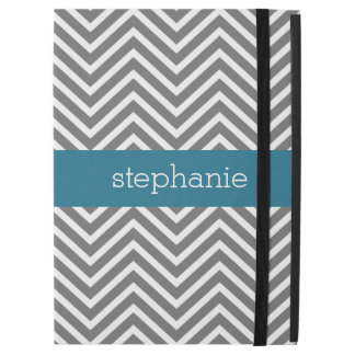 "Turquoise Gray Chevrons Custom Name iPad Pro 12.9"" Case"