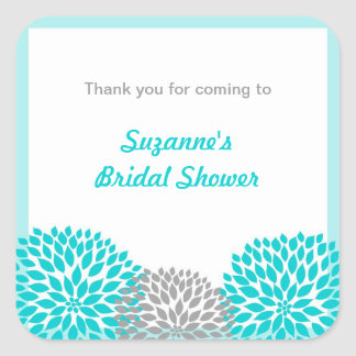 Turquoise Gray Dahlia Bridal Baby Shower favor tag
