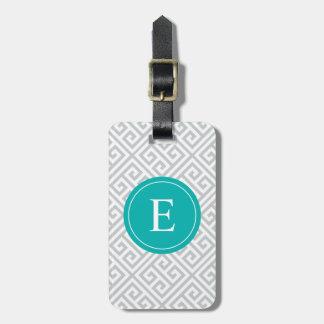 Turquoise & Gray Greek Key | Luggage Tag