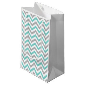 Turquoise, Gray, Wht Large Chevron ZigZag Pattern Small Gift Bag
