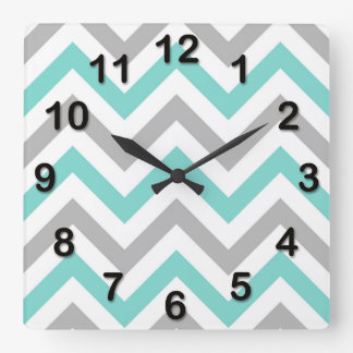Turquoise, Gray, Wht Large Chevron ZigZag Pattern Square Wall Clock