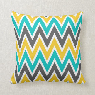 Turquoise Gray Yellow Gold Chevron Throw Pillow