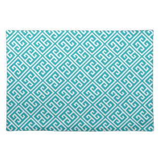 Turquoise Greek Key Pattern Placemat
