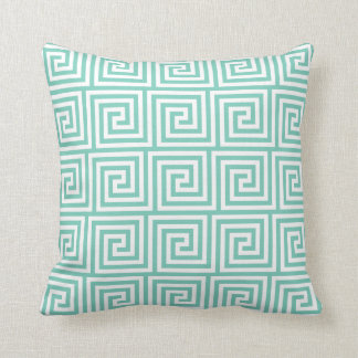 Turquoise Greek Key Throw Pillow